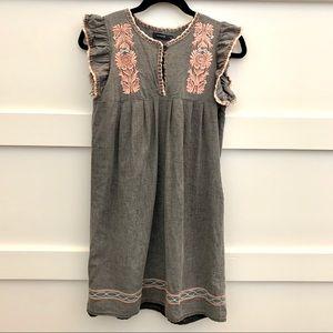 Linen blend embroidered Anthropologie like dress